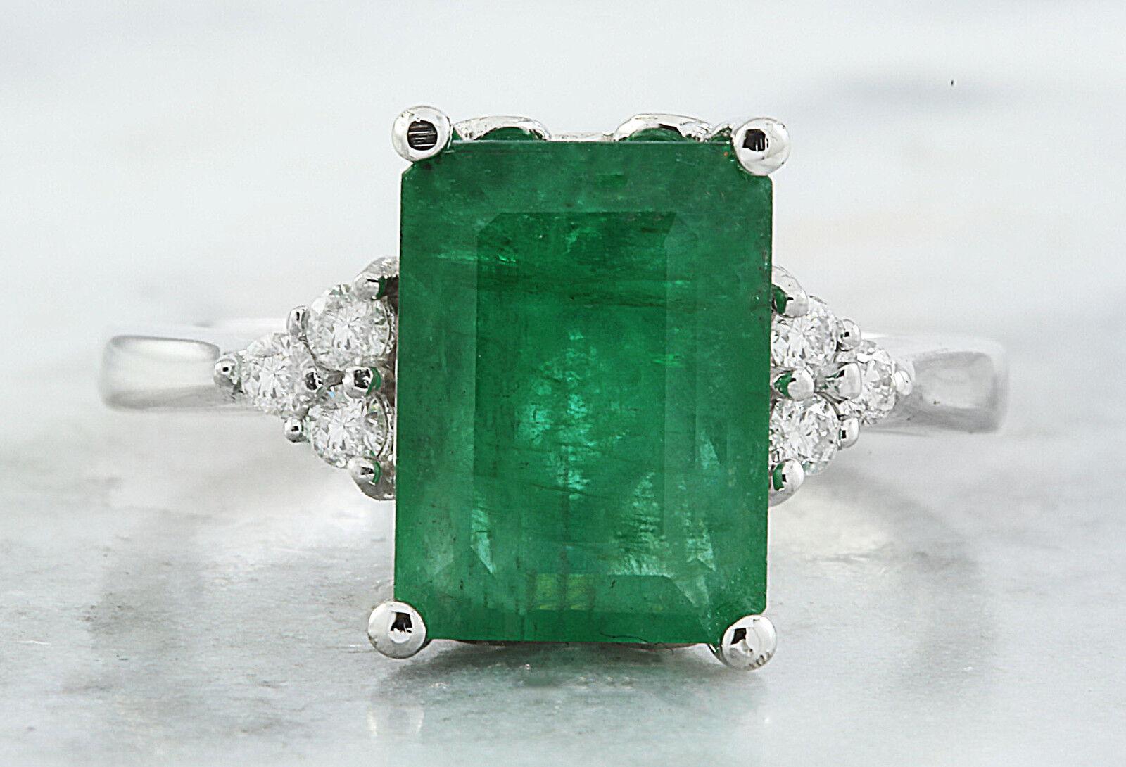3.55 Carat  Genuine Emerald 14K Solid White gold Diamond Ring