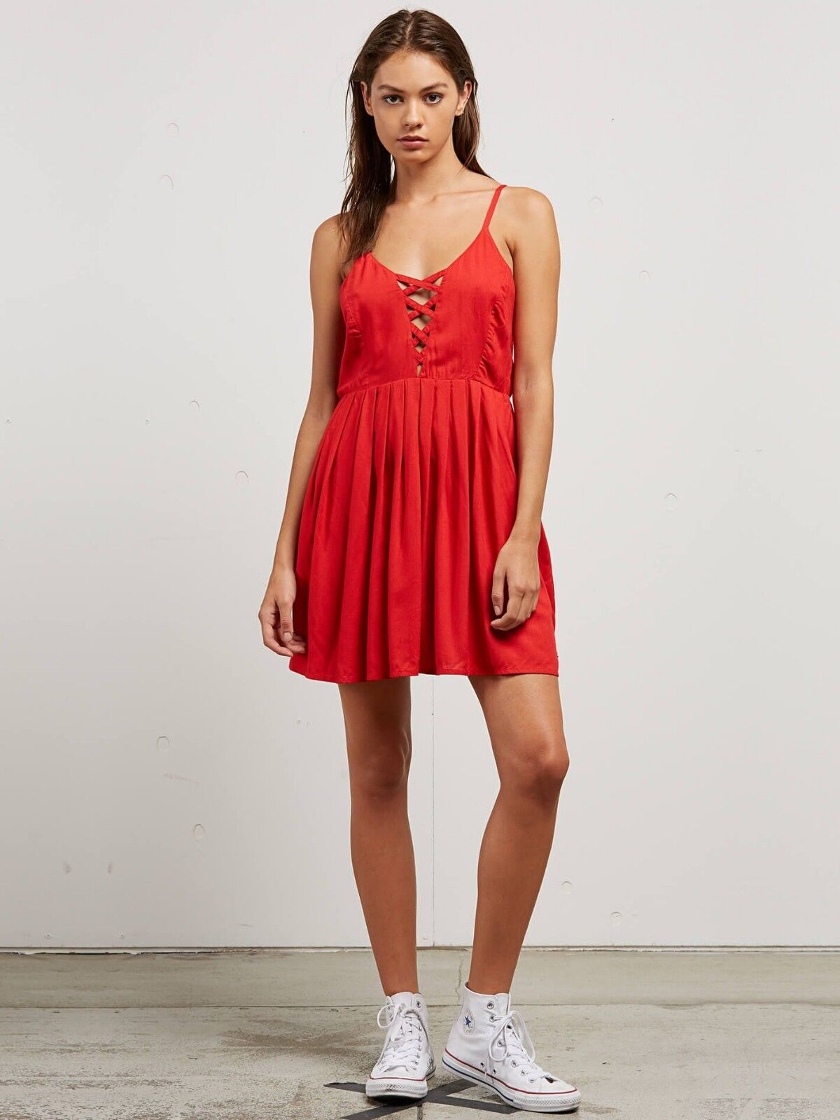 2018 NWT WOMENS VOLCOM CROSS PATHS DRESS  50 S rad red strappy woven lattice
