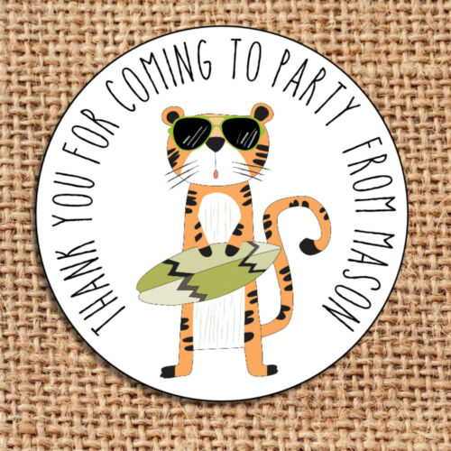 surfing tiger hipster  party bag stickers 24 thank you for coming labels