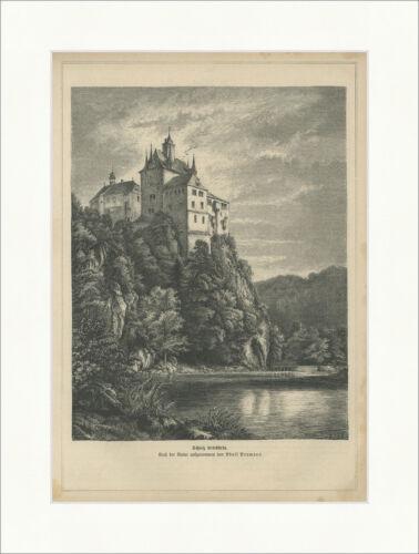 Schloss Kriebstein Mittelsachsen Burg Zschopau Neumann Holzstich E 24550