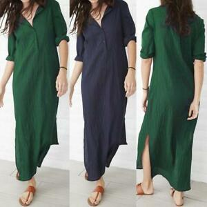 Women-Ladies-Long-Sleeve-V-Neck-Baggy-Cotton-Linen-Splits-Maxi-Dresses-Plus-Size
