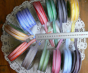 Woven-Check-Ribbon-10mmWide-5-Metre-Lengths-13-Colour-with-White-Choice-H11