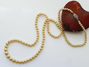 "Vintage 27""  Faux Pearl Single Strand Graduated Bead Necklace Diamond 14ct Clasp"