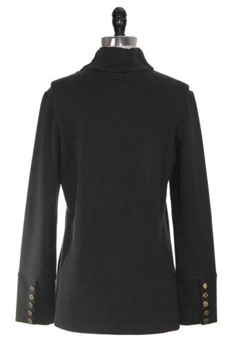 ELIZABETH MCKAY Black Button Embellished Riley Turtleneck 7073 $215 NWT