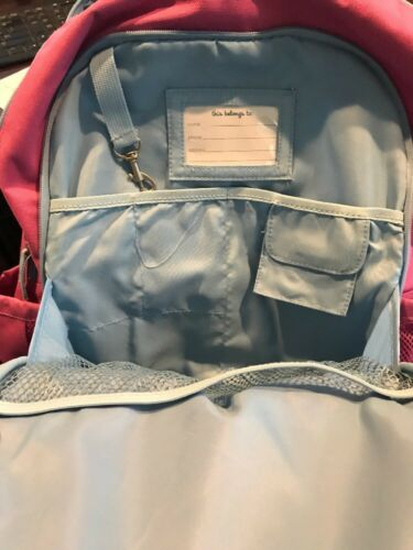 NWT Pottery Barn Kids Large Fairfax Backpack Pink w// Lt Blue Trim