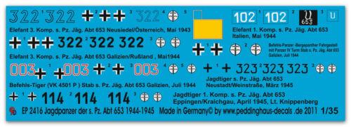 Abt 653 1944-1945 Peddinghaus 2416 1//35 Jagdpanzer der s.Pz