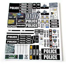 STICKERS for CUSTOM POLICE LEGO 7743 7237 7744 BUILDS, Toys, Etc 'BLACK'