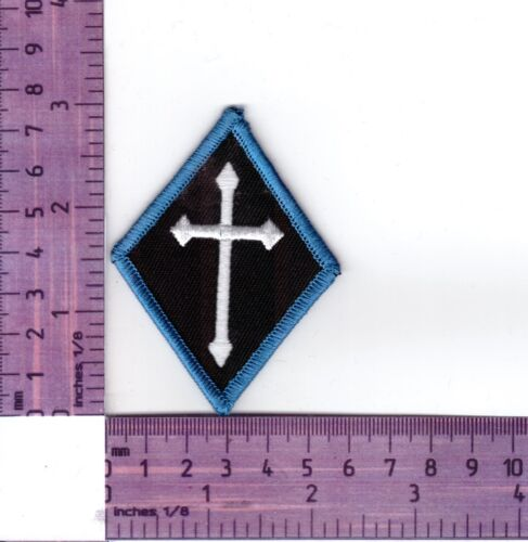 Blue Border Cross Diamond Bikers Embroidered Cloth Patch Badge