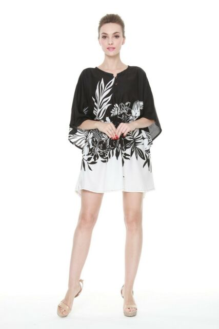 Poncho Dress Top Luau Tropical Cruise Hawaiian Tie Beach Plus Size Black  Indri 2