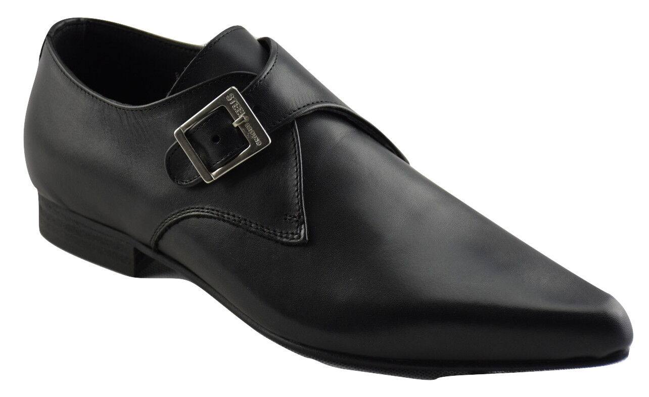 Steel Ground Shoes Black Leather Monk Buckle Winklepicker Casual Pointed Sb013