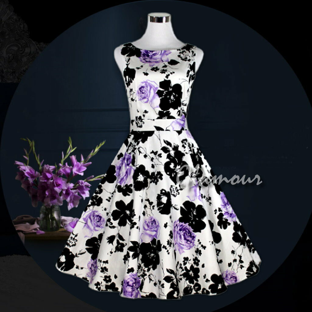 50s Hepburn Style Wedding Party Prom Prom Prom Vintage Swing Floral Print Dress 70a556