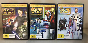 STAR WARS The Clone Wars Season 1 Volume 1, 2, 3 DVD R4  Like New !!