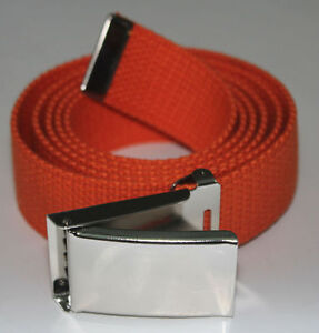 """NEW FLIP TOP ADJUSTABLE 50/"""" INCH RED MILITARY WEB CANVAS BLACK BELT BUCKLE"""