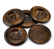6 Large Chestnut Brown coloured 4 hole Wooden Sewing Buttons 35mm  Free P&P