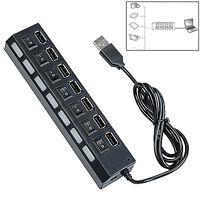 GUT 7 Port USB 2.0 Hub Verteiler Splitter Adapter High Speed Switch mit PC