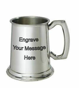NEW-Personalised-1-2-Pint-Plain-Polished-Pewter-Tankard-Any-Message-Engraved
