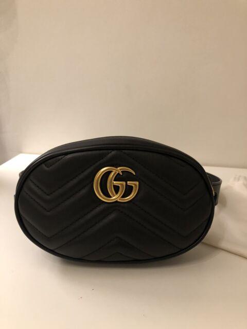 117532cfc Authentic Gucci GG Marmont Matelassé Black Leather Belt Bag Size 75 Gold