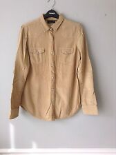 topshop tan brown corduroy shirt with suede elbow patches
