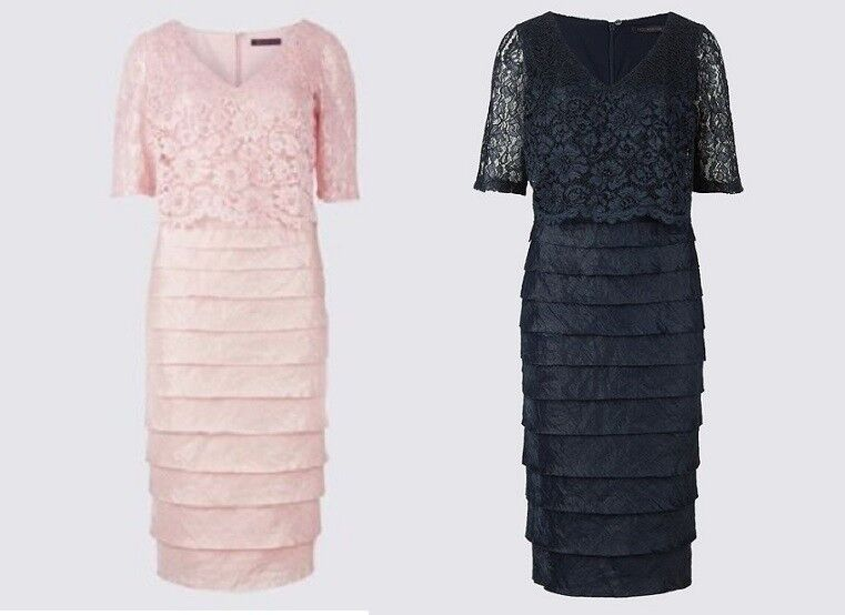 New M&S Collection bluesh Pink Or Navy bluee Lace Shutter Pleat Dress