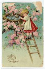 Russia postcard Easter Hristos Voskrese Girl, flowers, birds, eggs (332)