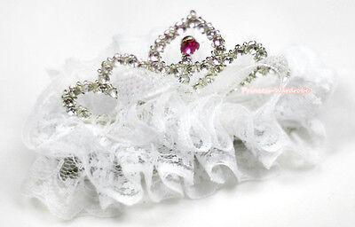 Pure White Lace Ruffles Sparkle Rhinestone Crown Tiara Hair Clip Girls Accessory
