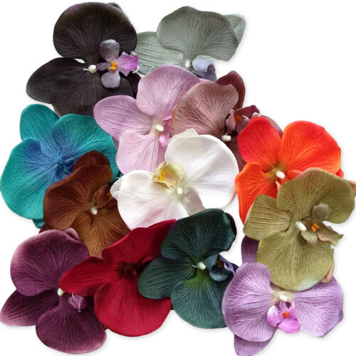 Autumn Vintage Matt Colours Wedding Large 13cm Orchid Flower Corsage Hair Clips
