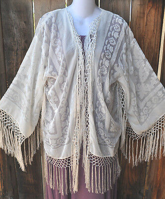 ART TO WEAR SNOWY WHITE SILK VELVET BURNOUT FRINGED SHORT KIMONO JACKET, OS!