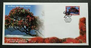 1996-New-Zealand-Tree-Pohutukawa-Airpost-Self-Adhesive-1v-Stamp-FDC