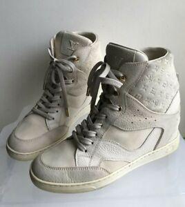 Louis-Vuitton-Millenium-wedge-sneakers-37-US7-Logo-LV-Ivory-Authentic