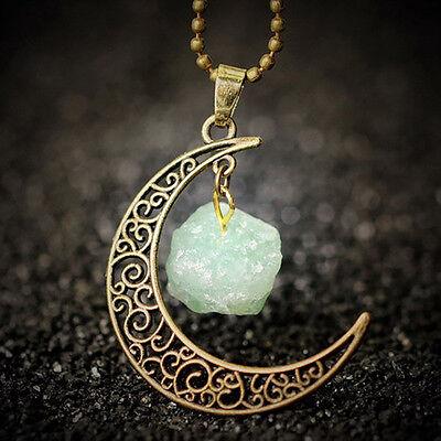 Galaxy Moon Pendant Necklace & Natural Gemstone Celestial Spiritual Ladies Gift