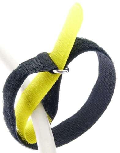 Öse 10 Klett Kabelbinder 300 x 20 mm gelb Kabelklettband Kabelklett Klettband m
