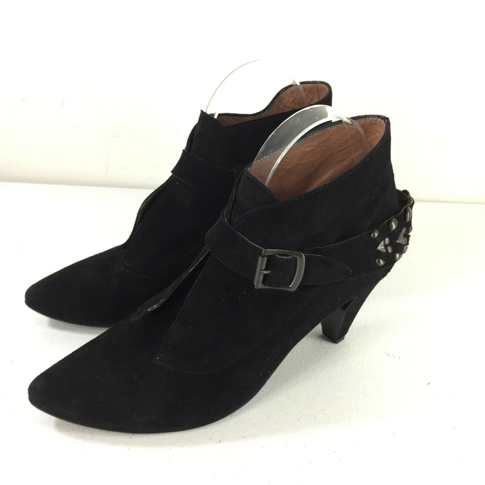 425 Sigerson Morrison 10 Black Suede Booties Studded High Heel Buckle Excellent