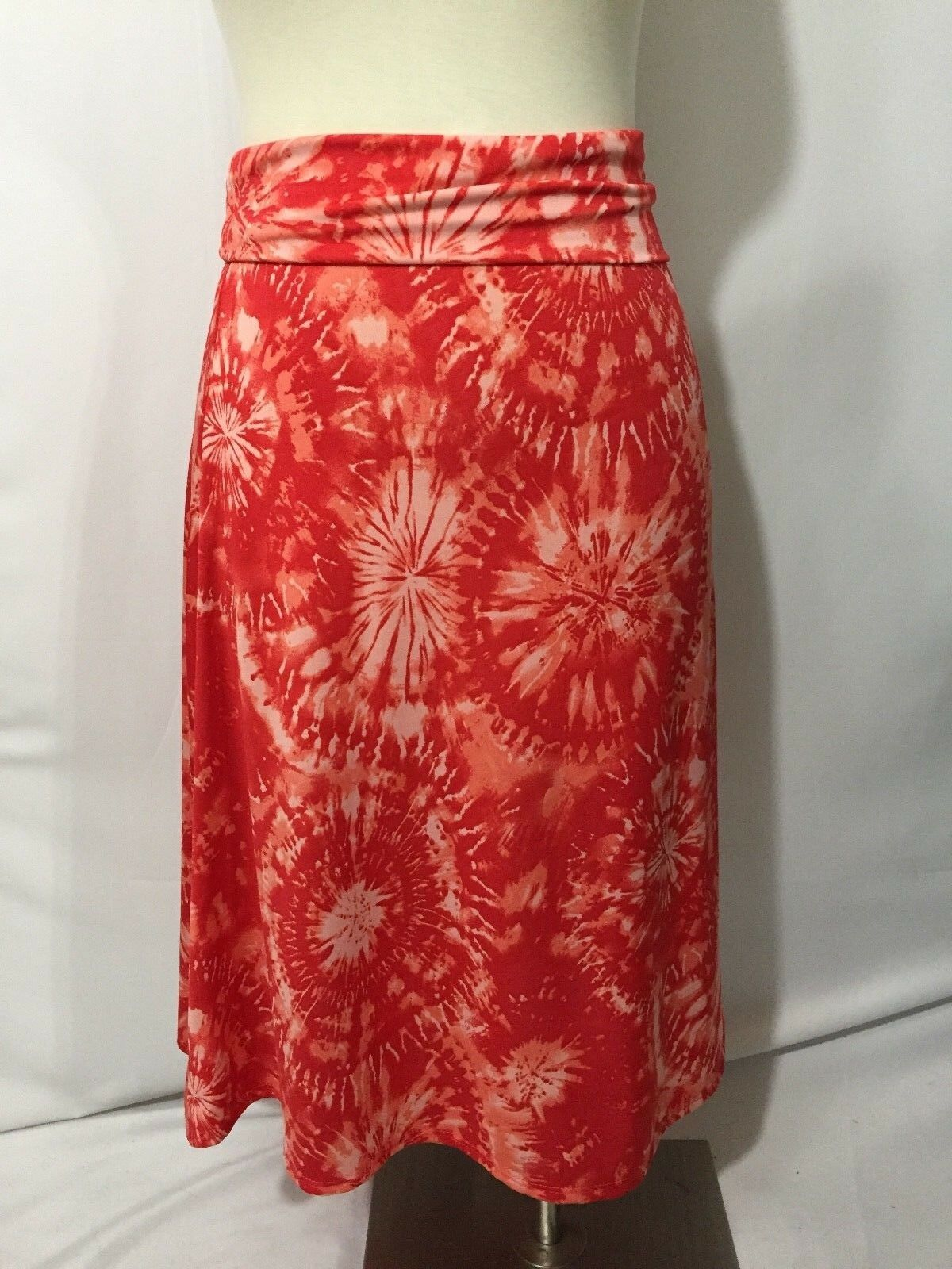 NEW LulaRoe Red Pink Tie Dye Aline Azure Skirt 2X 3X