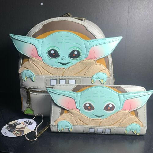 LOUNGEFLY STAR WARS MANDALORIAN THE CHILD BABY YODA BACK PACK /& WALLET NEW