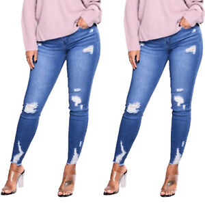 Women-Jeans-Ripped-Casual-Zipper-Closure-Jegging-Stretchy-Denim-Pants-Trousers
