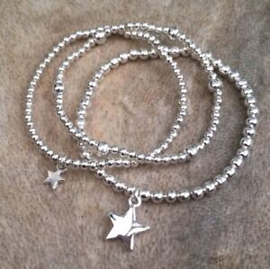 Image Is Loading Silver Ball Beaded Star Charm Bracelets Stacking Set