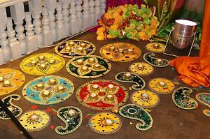 Mehndi Plates Images : Mehndi plates unique look asian weddings traditional culture ebay
