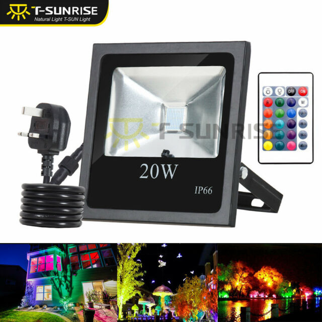 RGB Colour Changing LED Floodlight Outdoor Garden Security Spotlight Waterproof