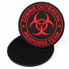 PVC Morale Patch Zombie Outbreak Response Red 3D Badge Hook #18 Paintball