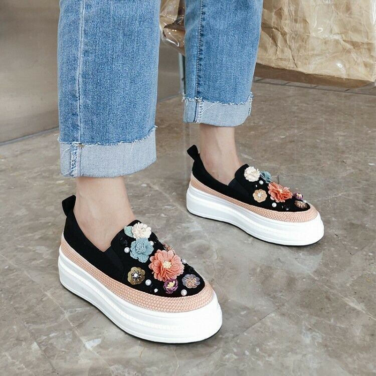 Casual Wouomo Loafers Slip On Sweet Floral Creeper Platform Wedge sautope C122