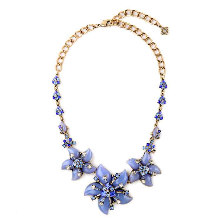 Halskette halb- lang blueme blue Kristall art deco vintage Faden Spezial OSC 2