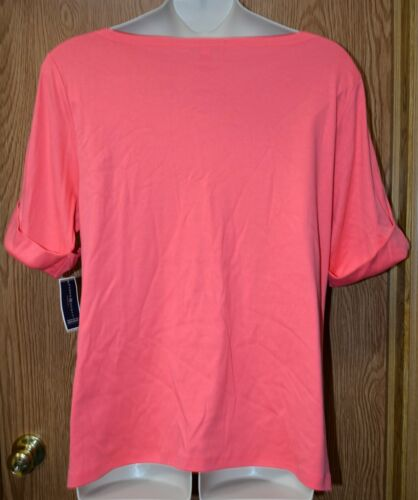 Womens Peony Coral Karen Scott Short Sleeve Shirt Size 1X NWT NEW