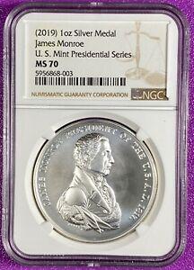 (2019) 1oz Silver Medal James Monroe Presidential Series NGC MS70 (003)