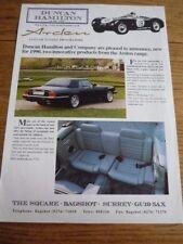 ARDEN JAGUAR XJS CONVERTIBLE HARD TOP - REAR SEATS SALES 'BROCHURE'/SHEET 1990