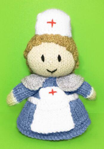 KNITTING PATTERN 15 cms toy World War Two Nurse Choc orange cover