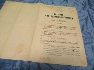 historisches-Dokument-1913-Darlehns-u-Hypotheken-Vertrag-ueber-8000-Mark