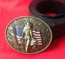 AMERICAN FLAG COWBOY LASSO RANCHER HORSEMAN RODEO USA BUCKLE BLACK LEATHER BELT