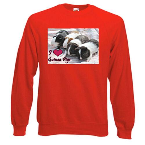 fleecy Choice of size /& colours I Love Guinea Pigs Sweatshirt