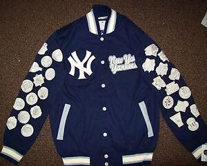 New York Yankees 27 Time World Series Champions Jacket Blue Xl Ebay