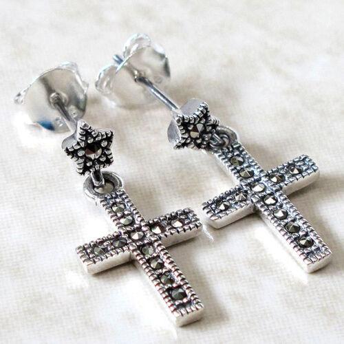 Charmant Marcassite Cross 925 Sterling Argent Boucles D/'oreilles Clou